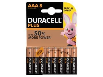 Duracell AAA Cell Plus Power RO3A/LR0 Batteries (Pack 8)